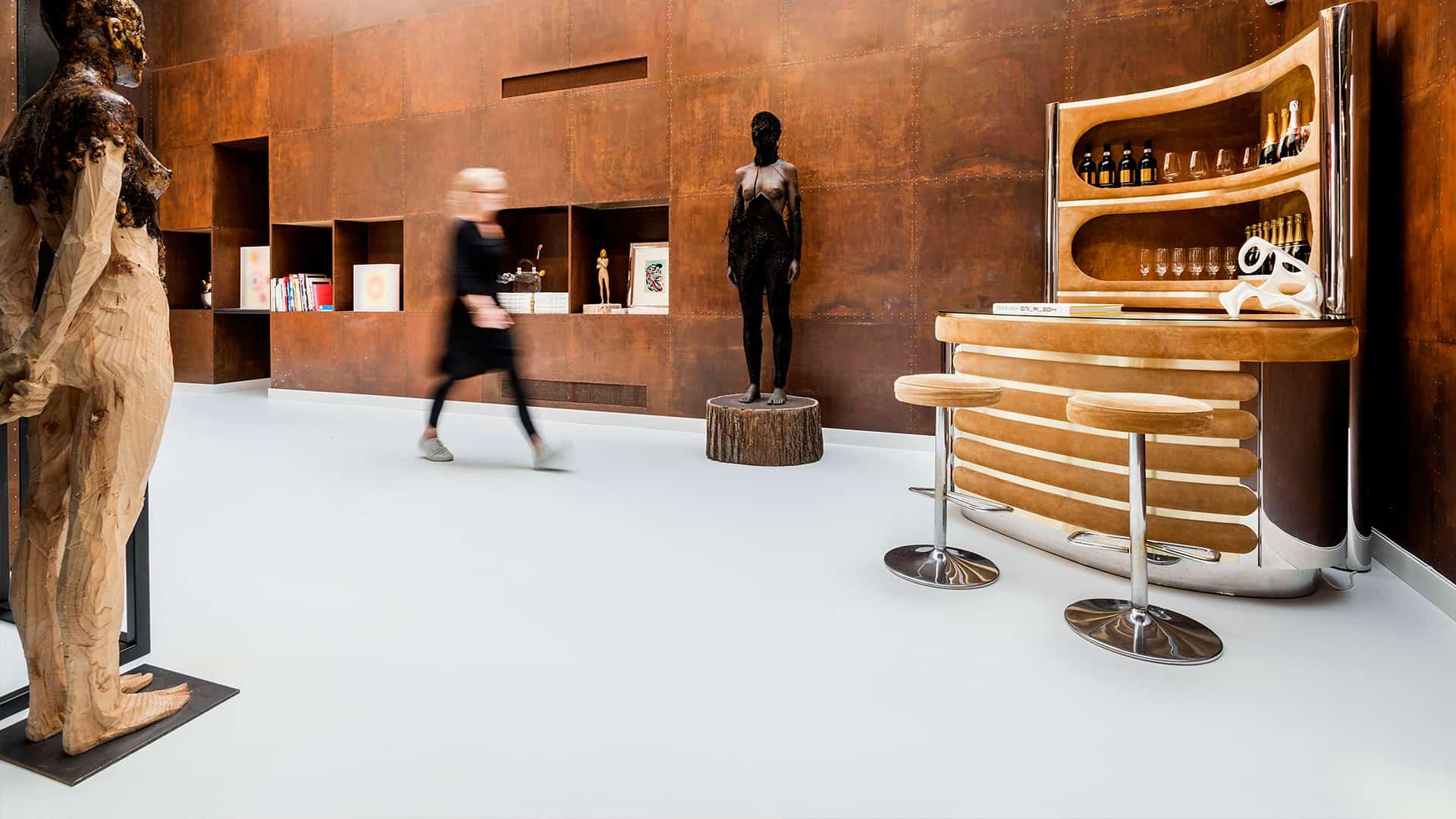 Hvidt PU gulv på museum