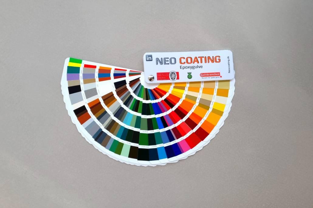 Kort med alle RAL-farvekoder med Neo Coating logo